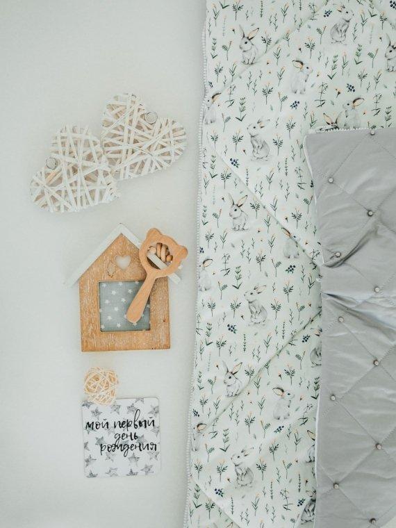 Конверт на выписку и для прогулок зимний стеганый серые зайки Vikki Kids