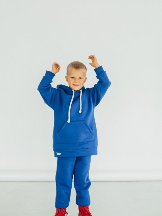 Костюм детский трикотажный с начесом и капюшоном синий Vikki Kids