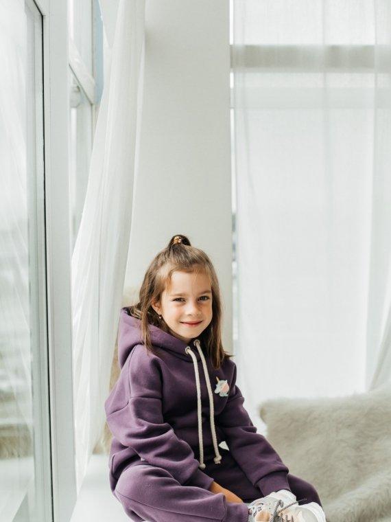 Костюм детский трикотажный с начесом и капюшоном фиолетовый Vikki Kids