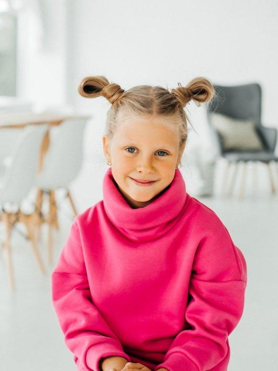 Костюм детский трикотажный с начесом и воротником розовый Vikki Kids