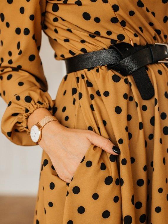 Платье женское горчица горох Vikki Kids