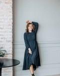 Платье женское темно - синий горох Vikki Kids