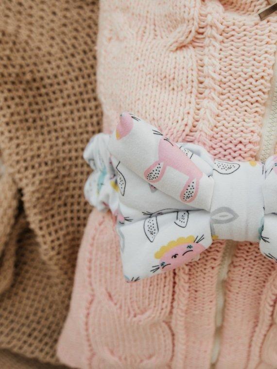 Конверт на выписку и для прогулок вязаный розовые зайки Vikki Kids