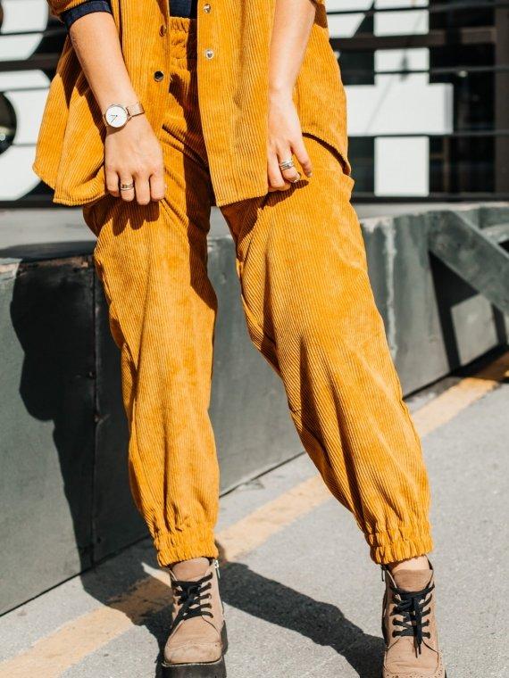 Костюм женский вельветовый с рубашкой горчица Vikki Kids
