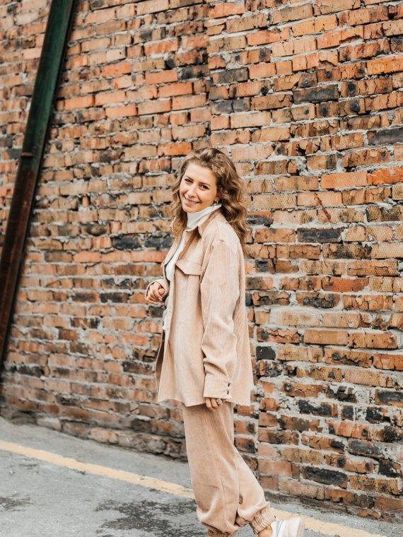 Костюм женский вельветовый с рубашкой песок Vikki Kids