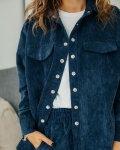 Костюм женский вельветовый с рубашкой синий Vikki Kids