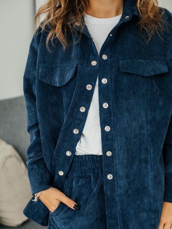 Рубашка женская вельветовая синий Vikki Kids