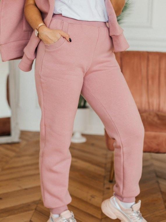 Брюки женские трикотажные с начесом розовая пудра Vikki Kids