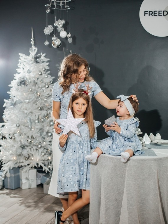 """Платье детское """"софи"""" новогодние синие шары Vikki Kids"""