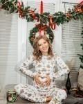 Пижама женская с футболкой с длинными рукавами и брюками новогодние шишки Vikki Kids