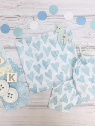 муслиновая Голубые сердечки Vikki Kids