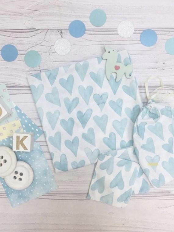 Пеленка муслиновая голубые сердечки Vikki Kids