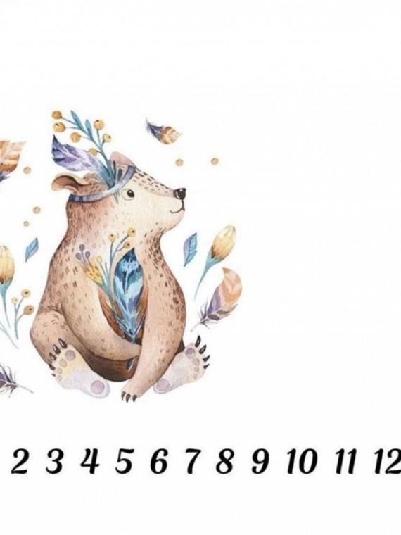 Пеленка муслиновая цифры медвежонок Vikki Kids