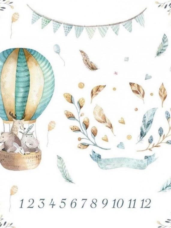 Пеленка муслиновая цифры воздушный шар Vikki Kids