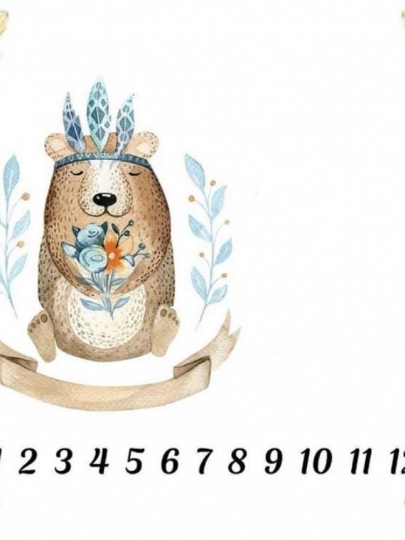 Пеленка муслиновая цифры мишки Vikki Kids