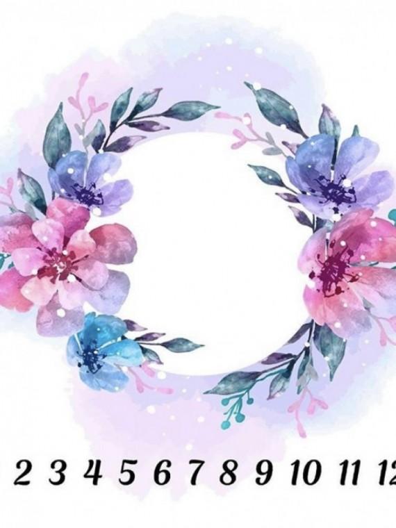Пеленка муслиновая цифры цветы Vikki Kids