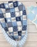 Кокон гнездышко для новорожденных синие звезды Vikki Kids