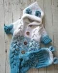 Комбинезон вязаный мышка сине-белый Vikki Kids