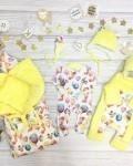 Конверт на выписку и для прогулок зверята с шариками желтый Vikki Kids