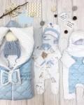 Конверт на выписку и для прогулок плюшевый синий Vikki Kids