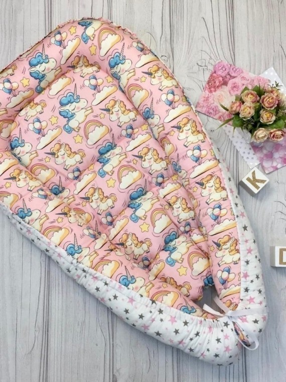 Кокон гнездышко для новорожденных единороги Vikki Kids