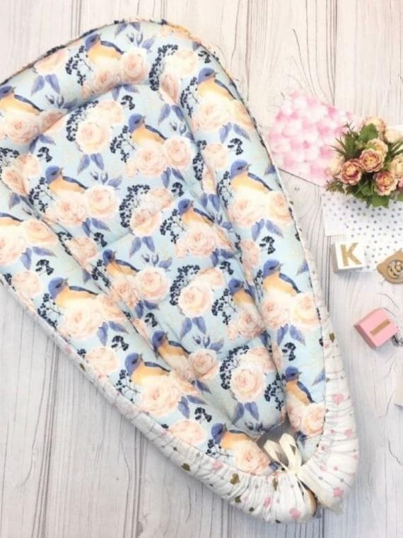 Кокон гнездышко для новорожденных розы Vikki Kids