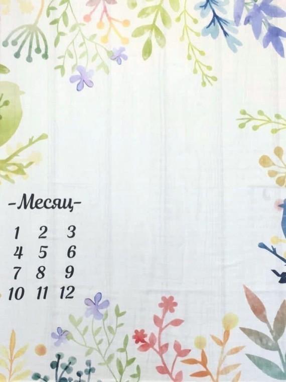Пеленка муслиновая цифры весна Vikki Kids
