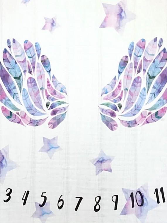 Пеленка муслиновая цифры розовые крылья Vikki Kids