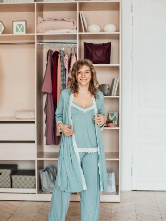 Пижама женская с брюками мята Vikki Kids