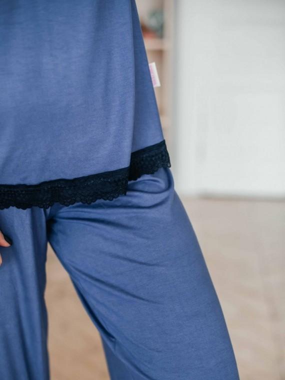 Пижама женская с брюками синий Vikki Kids