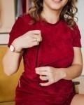 Пижама женская вельветовая с шортами бордо Vikki Kids