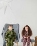 Костюм детский трикотажный с начесом и капюшоном болотный звезды Vikki Kids