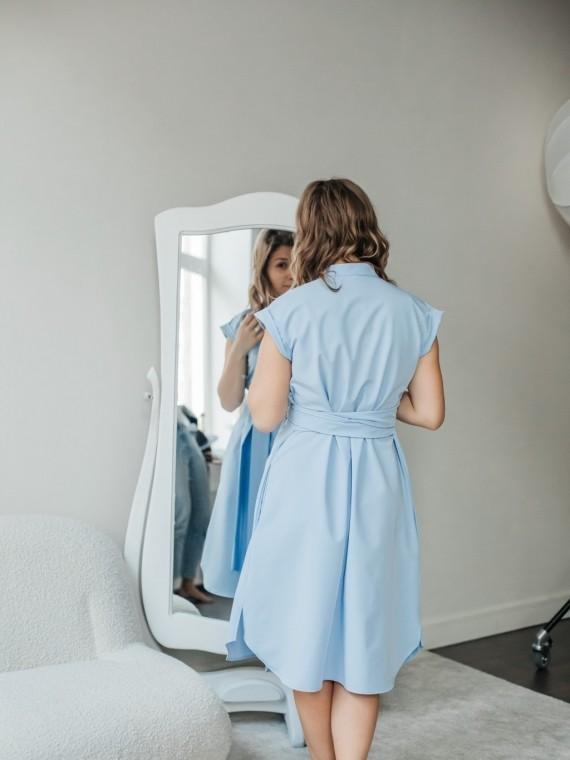 Платье женское -рубашка синяя Vikki Kids