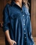 Платье женское -рубашка вельвет синий Vikki Kids