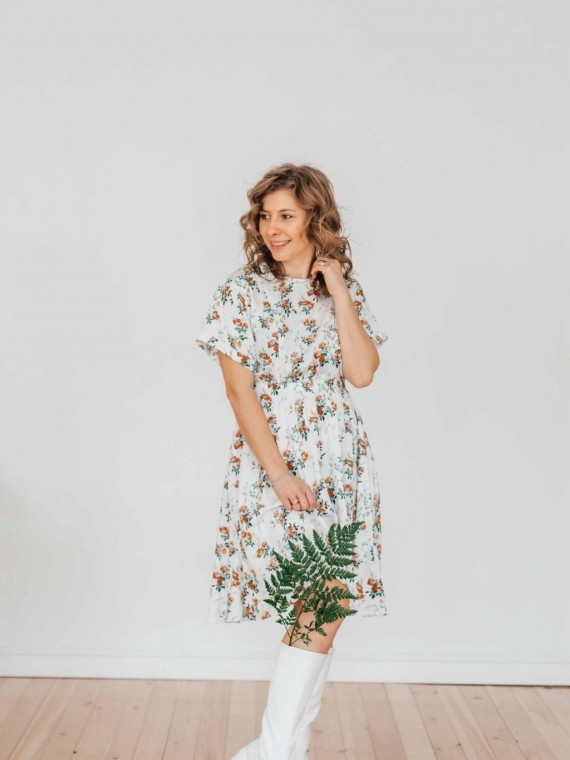 """Платье женское летнее """"мишель"""" белое цветы Vikki Kids"""