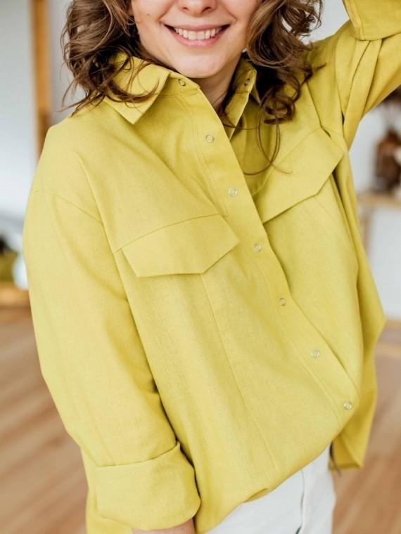 Рубашка женская oversize лен лимон Vikki Kids