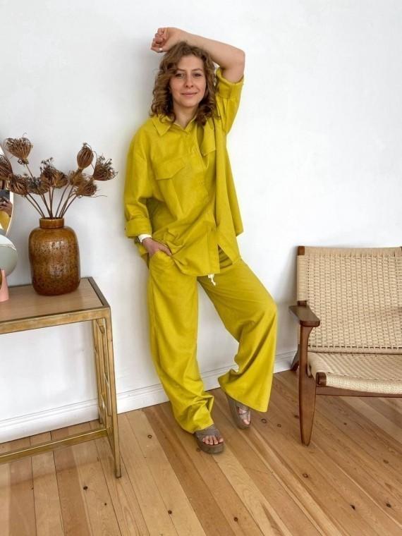 Костюм женский летний с брюками лайм Vikki Kids
