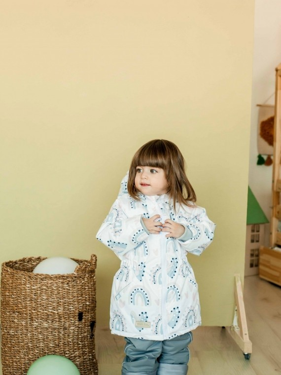 Куртка детская демисезонная белая радуга Vikki Kids