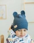 Шапка трикотажная синяя с ушками Vikki Kids