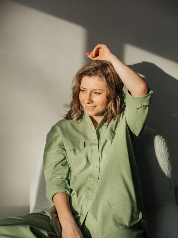 "Костюм женский летний с брюками ""оливка"" Vikki Kids"