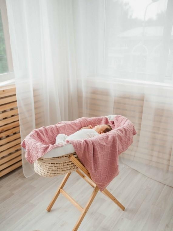 Одеяло вязанное в розовом цвете Vikki Kids
