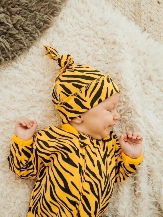 Шапка узелок хлопковая тигра Vikki Kids